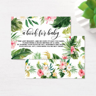 Watercolor Tropical Flowers Frame Book Request Business Card