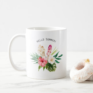 Watercolor Tropical Flowers, Leaves with Ice Cream Coffee Mug