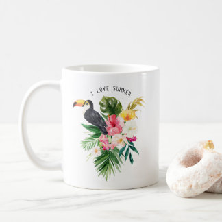 Watercolor Tropical Flowers with Toucan Custom Coffee Mug