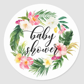 Watercolor Tropical Flowers Wreath Baby Shower Classic Round Sticker
