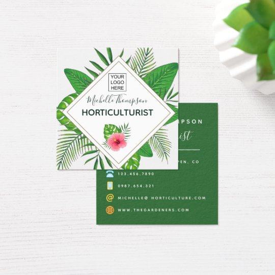 Watercolor tropical foliage personalised square business card