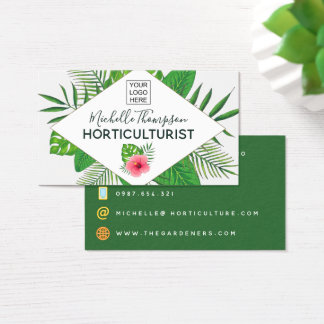 Watercolor tropical foliage personalized business card