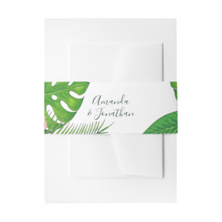 Watercolor tropical foliage Wedding personalized Invitation Belly Band