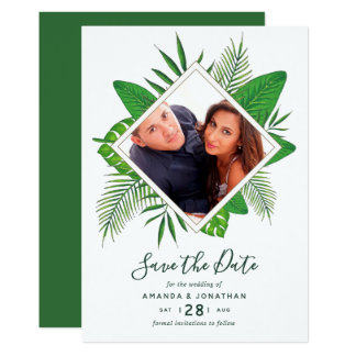 Watercolor tropical foliage Wedding Save the Date Card