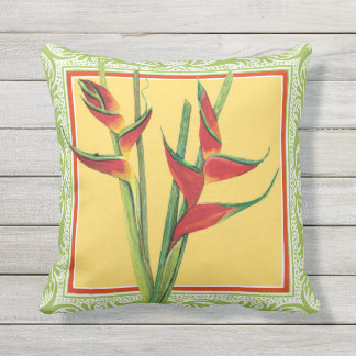 Watercolor Tropical Island Heliconia Red Flowers Throw Pillow