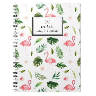 Watercolor Tropical Leaves and Flamingo Custom Notebook
