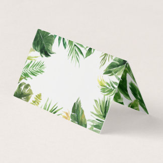 Watercolor Tropical Leaves Frame Summer Place Card