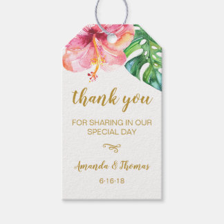 Watercolor Tropical Leaves Wedding Favour Tag