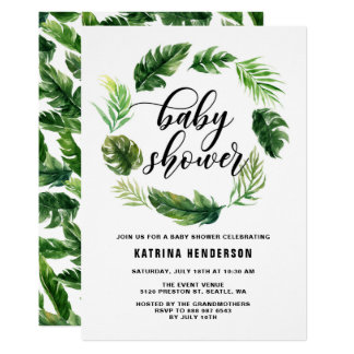 Watercolor Tropical Leaves Wreath Baby Shower Card