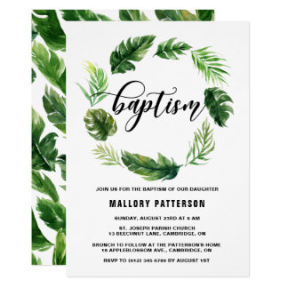 Watercolor Tropical Leaves Wreath Baptism Card