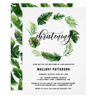 Watercolor Tropical Leaves Wreath Christening Card
