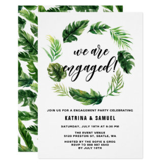 Watercolor Tropical Leaves Wreath Engagement Party Card