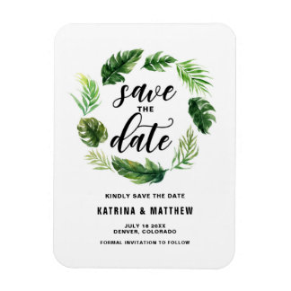 Watercolor Tropical Leaves Wreath Save the Date Magnet
