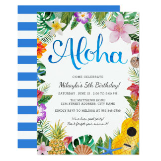 Watercolor Tropical Luau Birthday Party Invite