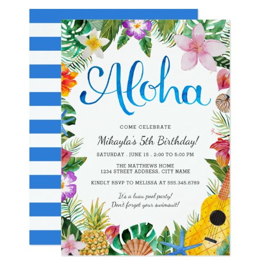 watercolor tropical luau birthday party invite zazzle com au