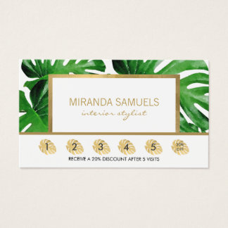 Watercolor Tropical Monstera Leaves Loyalty Business Card