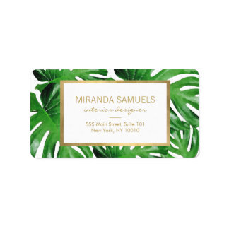 Watercolor Tropical Monstera Leaves Pattern Address Label