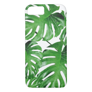 Watercolor Tropical Monstera Leaves Pattern iPhone 7 Case