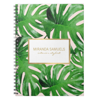 Watercolor Tropical Monstera Leaves Pattern Pink Notebooks