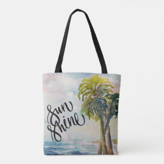 Watercolor Tropical Ocean Palm Trees Leaves Tote Bag