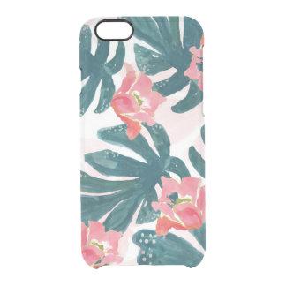 Watercolor Tropical Palm,Hawaiian Hibiskus Clear iPhone 6/6S Case