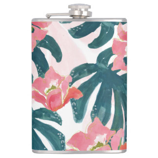 Watercolor Tropical Palm,Hawaiian Hibiskus Flask