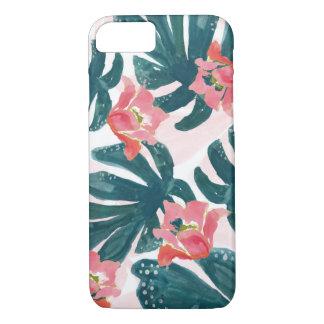 Watercolor Tropical Palm,Hawaiian Hibiskus iPhone 8/7 Case