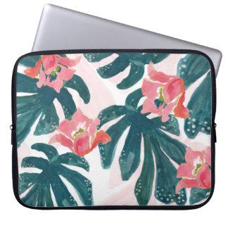 Watercolor Tropical Palm,Hawaiian Hibiskus Laptop Sleeve
