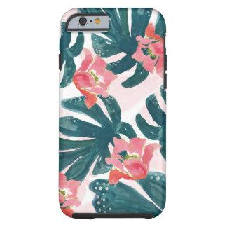 Watercolor Tropical Palm,Hawaiian Hibiskus Tough iPhone 6 Case