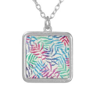 Watercolor Tropical Palm Leaves II Silver Plated Necklace