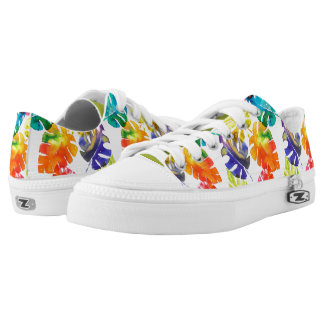 Watercolor tropical palm leaves low tops