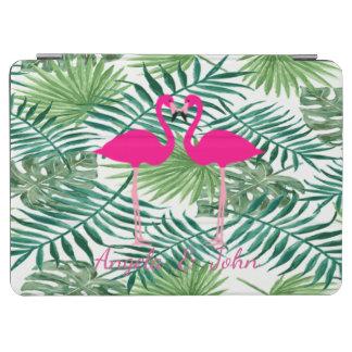 Watercolor Tropical Palm Leaves,Pink Flamingos iPad Air Cover