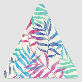 Watercolor Tropical Palm Leaves Triangle Sticker
