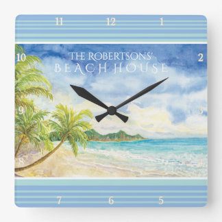 Watercolor Tropical Paradise Beach House Palms Art Clock