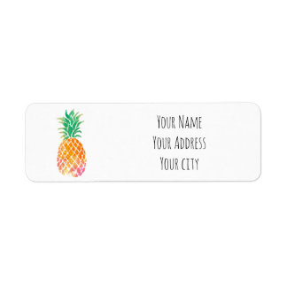 watercolor tropical pineapple return address label