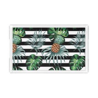 Watercolor tropical pineapple with black stripes acrylic tray