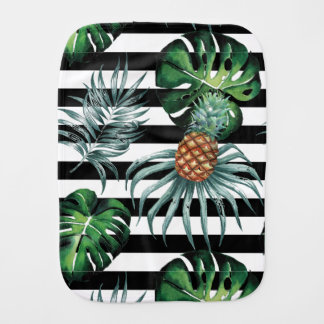 Watercolor tropical pineapple with black stripes burp cloth