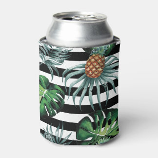 Watercolor tropical pineapple with black stripes can cooler