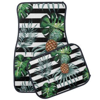 Watercolor tropical pineapple with black stripes car mat