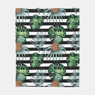 Watercolor tropical pineapple with black stripes fleece blanket