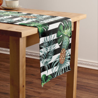 Watercolor tropical pineapple with black stripes short table runner