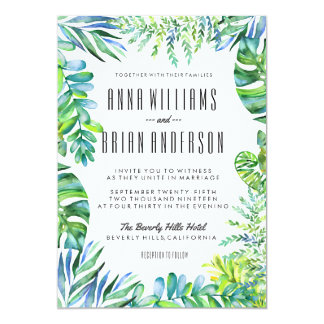 Watercolor Tropical Plants Leaves Wedding Invite