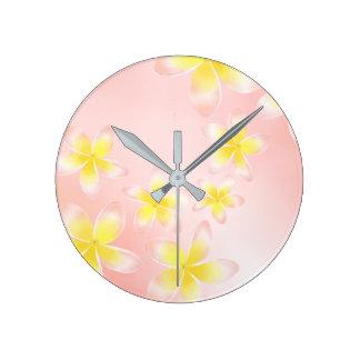 Watercolor Tropical Plumeria Gradient Peach Clock