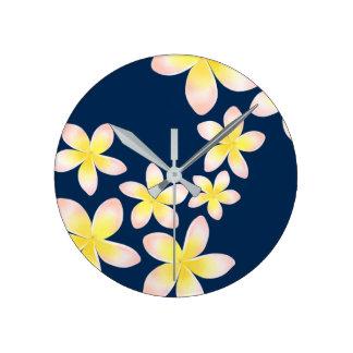 Watercolor Tropical Plumeria Navy Blue Clock