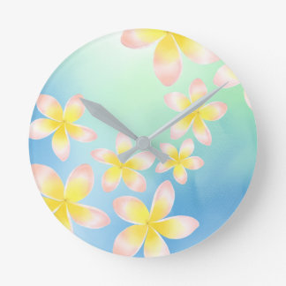 Watercolor Tropical Plumeria Ocean Blue Clock