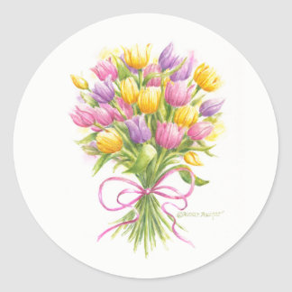 Watercolor Tulip Bouquet Stickers