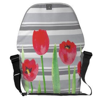 Watercolor tulips with stripes backbag messenger bag