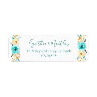 Watercolor Turquoise Mint Gold Floral Return Address Label