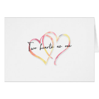 Watercolor Two Hearts as One Wedding Day Card