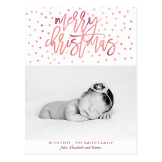 Watercolor Typography Christmas Photo Postcard